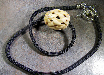 Reproduction Jewelry - Naked and Afraid TV Show  Carved Bone Bead, Para Cord Reproduction Necklace
