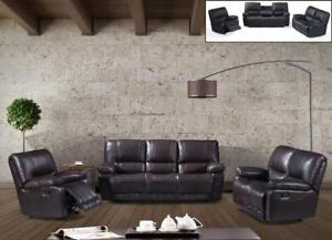 3 PC RECLINER SOFA SET IN SHINNY BLACK AND BROWN LEATHER ME01-2965 (BD-1325)