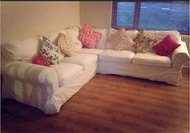 Ikea Ektorp Corner Sofa (with Double Sofa Bed, Storage & White Covers)