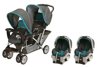 Graco DuoGlider Folding Double Baby Stroller w/ 2 Car Seats Travel Set|Dragonfly on Rummage