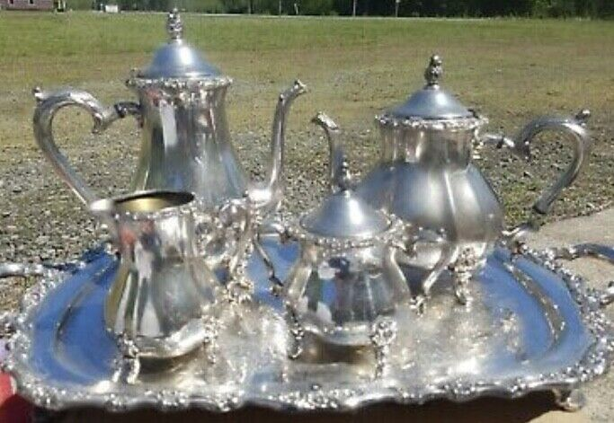 Rogers silver plated tea set with tray
