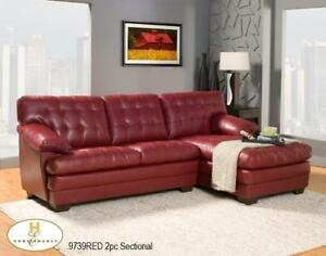 RED LEATHER SECTIONAL SOFA  - COUCH OR RED SECTIONAL COUCH (BD-1240)