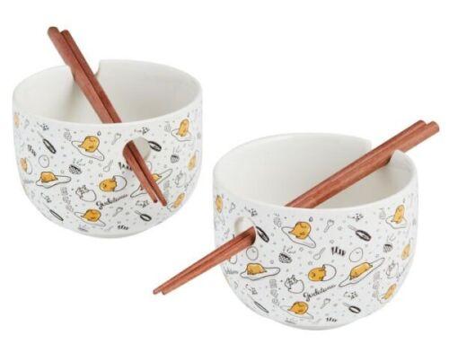 Gudetama Ceramic Noodle Bowls with Wooden Chopsticks - 2 Pack Set