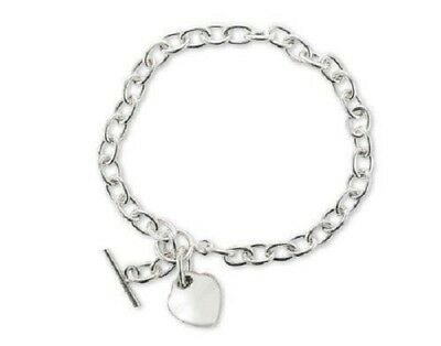 - 925 Sterling Silver Rolo Link Chain Engravable Heart Charm Toggle Clasp Bracelet