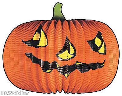 Lampion grosse CITROUILLE Papier Décoration de Salle Halloween 40cm NEUF