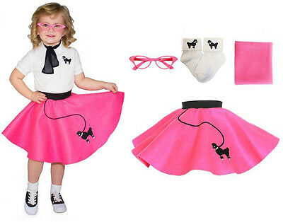 4 pc Toddler Poodle Skirt Outfit for Halloween or Dance Costume Hip Hop 50s Shop - Halloween Costumes For Toddlers