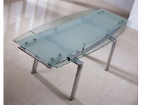 Extendable Dining Table. Frosted Tampered Glass. 4 - 6 sitting. Going Cheap!