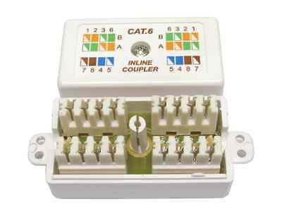 Cat6 Inline Punchdown Krone Cable Lead Coupler WHITE