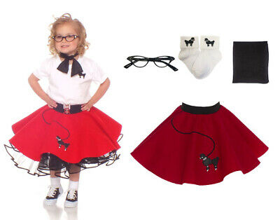 4 pc Toddler Poodle Skirt Outfit for Halloween or Dance Costume Hip Hop 50s Shop - Halloween Outfits For Toddlers