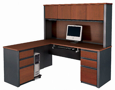 Bestar Prestige L Computer Desk With Hutch In Bordeaux Graphite - 99852-1639