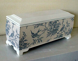 Large Wood Chest Off White with Blue Swallow Tapestry