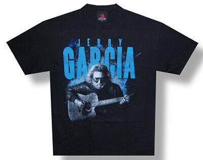 Jerry Garcia Acoustic Guitars (Jerry Garcia-(Grateful Dead)-Playing Acoustic Guitar-Black T-shirt )