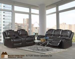 2PC RECLINING SOFA AND CHAIR IN A DARK GREY LEATHERETTE AND MICROFIBER MODEL 9577 02-15 $1,398.00 SAVE $601