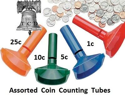 Fast Wrap Coin Counting Tubes Assorted Change Sorter Counter Mmf Wrapper 1c-25c