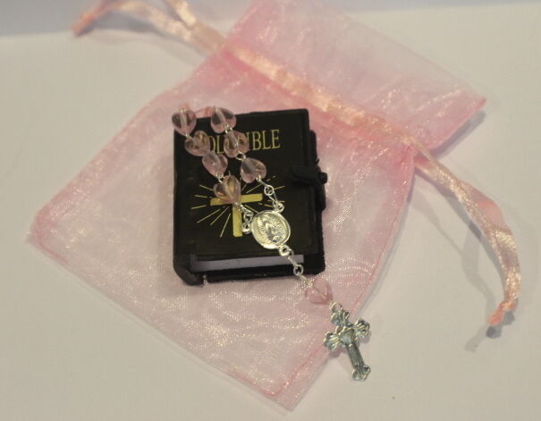 "Lovvbugg Bible & Rosary in Pink Bag for 18"" American Girl Doll Accessory"