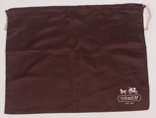 New COACH Protective Dust Bag Dustbag Cover Sateen Brown Silver Drawstring 19x15