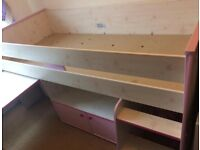 MidSleeper Bed, Pull Out Desk, Cupboard with Shelf, Hidden Play Den/Storage area