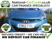 Hyundai I30 1.4 CLASSIC 5DR Manual Good / Bad Credit Car Finance (blue) 2012