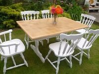 SHABBY CHIC Vintage Solid Oak Farmhouse Table & 6 Chairs - up-cycled in White chalk paint