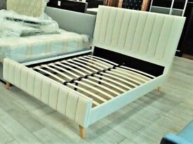 🔥Perfect Bed Design🔥 LUCY DOUBLE PLUSH VELVET GREY & CREAM COLOR AVAILABLE IN STOCK