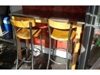 Table and stools.