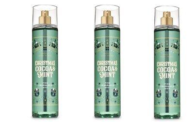 x3 Bath and & Body Works Christmas Cocoa & Mint Fine Fragrance mist spray -