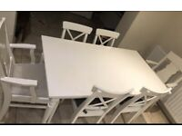 IKEA white table and 6 chairs