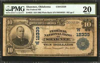 EXTREMELY RARE 1902 $10 Large Note from Shawnee Oklahoma Only 2 Large on Census