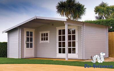 34 mm Gartenhaus mit Anbau Blockhaus 530x450 cm Gerätehaus Datsche Holzhaus Holz