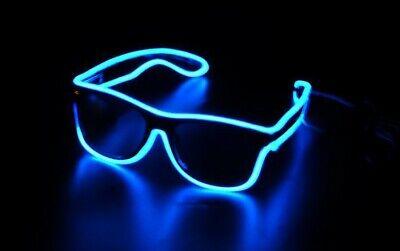Light Up Sunglasses Rave (El-Wire Aqua Blue LED Sunglasses Rectangular Rave Burning man Party Neon)