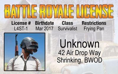 Battle Royale fake id card Drivers License Happy Halloween Winner Chicken Dinner