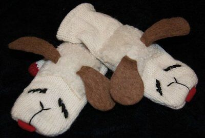 ADULT LAMBCHOP MITTENS knit FLEECE LINED lamb chop puppet costume mitts animal - Lamb Chop Costume