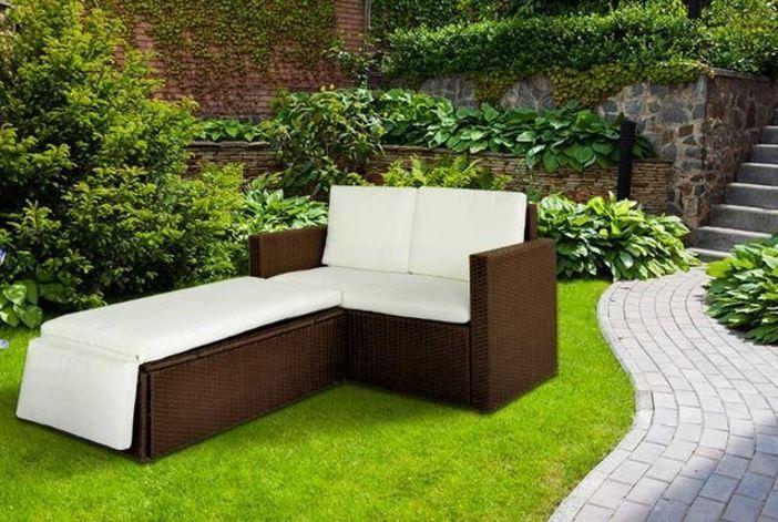 Garden Furniture - Rattan Outdoor Garden Sofa Furniture Love Bed Patio Sun bed 2 seater Brown New