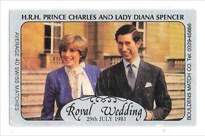 Vintage Commemorative Matchbox Label Royal Wedding Charles and Princess Diana