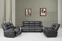 3PCS BONDED LEATHER SOFA SETS WITH 5 RECLINERS AND CUPHOLDERS!!!