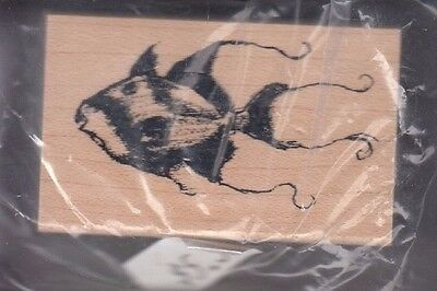 """tropical fish club scrap Wood Mounted Rubber Stamp  1 1/4 x 2""""  Free Shipping"""