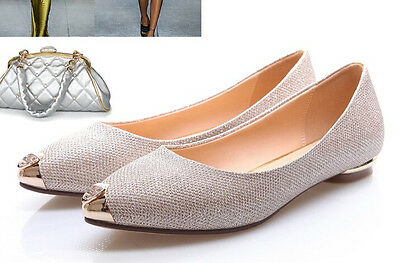 Elegant Comfortable Ballet Flats Women's Shoes Gold Rhinestone Bright Heel 1 cm
