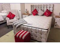 BEST COMPLETE BED DEAL IN BELFAST😵 Crushed velvet beds with diamond inserts💫