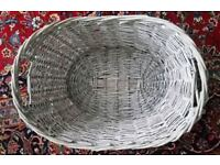 Grey wicker basket with handles
