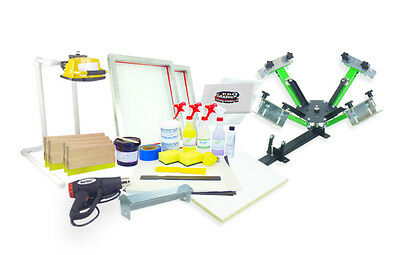 Silk Screen Printing Press 4 color, heat gun, exposure unit equipment kit setup