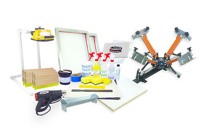 Screen Printing Press 4 Color1station Heat Gun Exposure Unit Equipment Kit