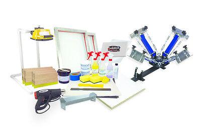 Silk Screen Printing Press 4 Color1station Heat Gun Exposure Unit Equipment