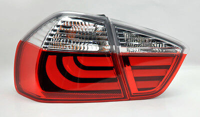 4dr Red Clear Led - Red Clear LED Light Bar Tail Lights Pair RH LH FITS BMW 3 Series 06-08 E90 4Dr