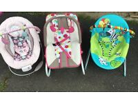 3x baby bouncer rocker vibrating chairs all 3 for £40