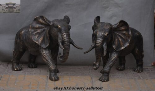 Old Chinese Fengshui Bronze Auspicious Wealth Elephant Animal Statue Pair