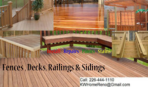 Fence Decks Railings Sidings - Install - Paints - Stains Kitchener / Waterloo Kitchener Area image 1