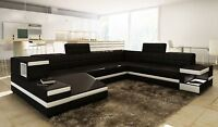 ON SALE! Modern Black Leather Sectional Sofa w/Light + Storage!