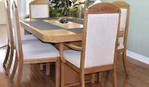 Solid oak dining set - table and 6 chairs Kitchener / Waterloo Kitchener Area image 3