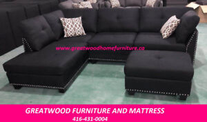MODERN SECTIONAL SOFA WITH OTTOMAN..BLACK OR GREY