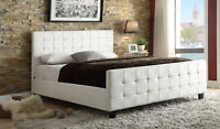 NEW!  Tufted Leather Platform Bed in White, Espresso or Grey!